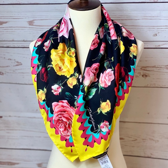 Dolce & Gabbana Accessories - NWT DOLCE & GABBANA Red Yellow Roses Silk Scarf